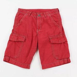 True Religion Men's Red Cargo Jean Shorts